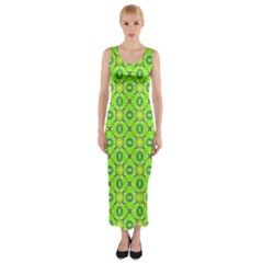 Vibrant Abstract Tropical Lime Foliage Lattice Fitted Maxi Dress