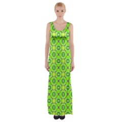Vibrant Abstract Tropical Lime Foliage Lattice Maxi Thigh Split Dress