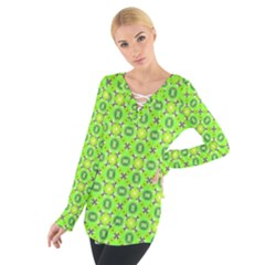 Vibrant Abstract Tropical Lime Foliage Lattice Women s Tie Up Tee