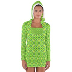 Vibrant Abstract Tropical Lime Foliage Lattice Women s Long Sleeve Hooded T-shirt