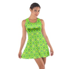 Vibrant Abstract Tropical Lime Foliage Lattice Racerback Dresses