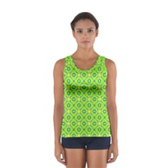 Vibrant Abstract Tropical Lime Foliage Lattice Tops