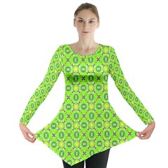 Vibrant Abstract Tropical Lime Foliage Lattice Long Sleeve Tunic