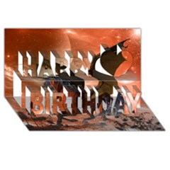 Wonderful Dark Unicorn In The Night Happy Birthday 3d Greeting Card (8x4)