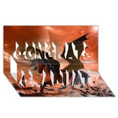 Wonderful Dark Unicorn In The Night Congrats Graduate 3d Greeting Card (8x4)