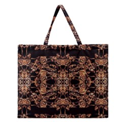 Dark Ornate Abstract  Pattern Zipper Large Tote Bag