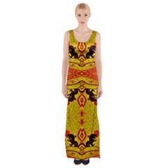 GREEN SUN Maxi Thigh Split Dress