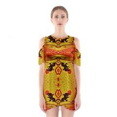 GREEN SUN Cutout Shoulder Dress