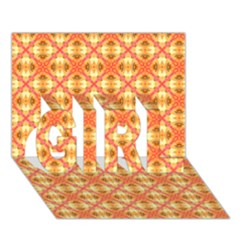 Peach Pineapple Abstract Circles Arches Girl 3d Greeting Card (7x5)
