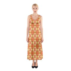Peach Pineapple Abstract Circles Arches Full Print Maxi Dress