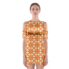 Peach Pineapple Abstract Circles Arches Cutout Shoulder Dress