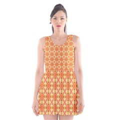 Peach Pineapple Abstract Circles Arches Scoop Neck Skater Dress