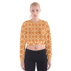 Peach Pineapple Abstract Circles Arches Women s Cropped Sweatshirt