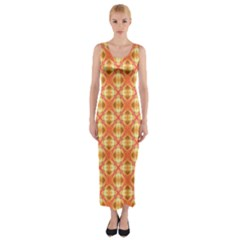 Peach Pineapple Abstract Circles Arches Fitted Maxi Dress