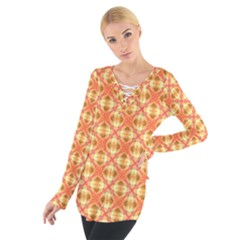 Peach Pineapple Abstract Circles Arches Women s Tie Up Tee