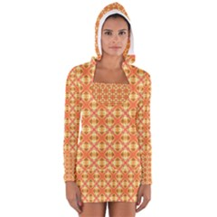 Peach Pineapple Abstract Circles Arches Women s Long Sleeve Hooded T-shirt