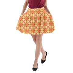 Peach Pineapple Abstract Circles Arches A-Line Pocket Skirt