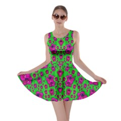 Fantasy Valentine In Floral Love And Peace Time Skater Dress