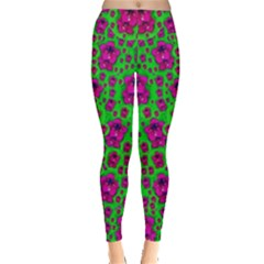 Fantasy Valentine In Floral Love And Peace Time Leggings