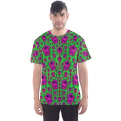 Fantasy Valentine In Floral Love And Peace Time Men s Sport Mesh Tee