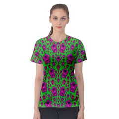 Fantasy Valentine In Floral Love And Peace Time Women s Sport Mesh Tee