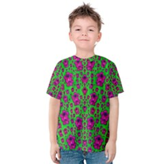 Fantasy Valentine In Floral Love And Peace Time Kid s Cotton Tee