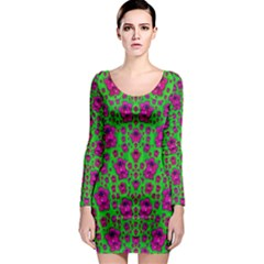 Fantasy Valentine In Floral Love And Peace Time Long Sleeve Bodycon Dress