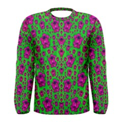 Fantasy Valentine In Floral Love And Peace Time Men s Long Sleeve Tee