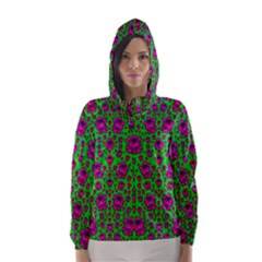 Fantasy Valentine In Floral Love And Peace Time Hooded Wind Breaker (Women)