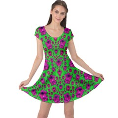 Fantasy Valentine In Floral Love And Peace Time Cap Sleeve Dresses