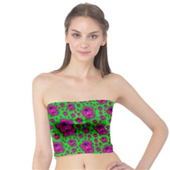 Fantasy Valentine In Floral Love And Peace Time Tube Top