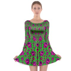 Fantasy Valentine In Floral Love And Peace Time Long Sleeve Skater Dress