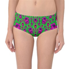 Fantasy Valentine In Floral Love And Peace Time Mid-Waist Bikini Bottoms