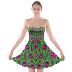 Fantasy Valentine In Floral Love And Peace Time Strapless Dresses