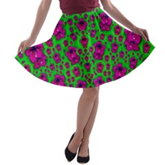 Fantasy Valentine In Floral Love And Peace Time A-line Skater Skirt