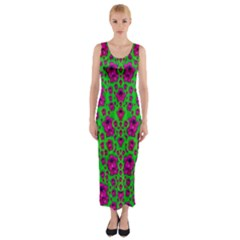 Fantasy Valentine In Floral Love And Peace Time Fitted Maxi Dress