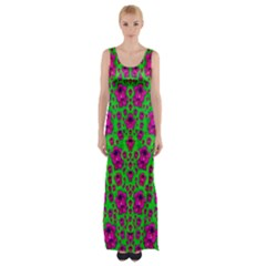 Fantasy Valentine In Floral Love And Peace Time Maxi Thigh Split Dress