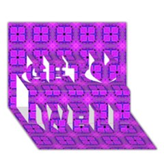 Abstract Dancing Diamonds Purple Violet Get Well 3d Greeting Card (7x5)