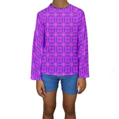 Abstract Dancing Diamonds Purple Violet Kid s Long Sleeve Swimwear