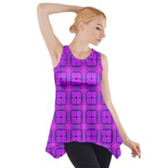 Abstract Dancing Diamonds Purple Violet Side Drop Tank Tunic