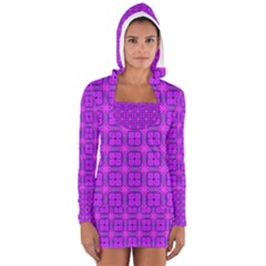 Abstract Dancing Diamonds Purple Violet Women s Long Sleeve Hooded T-shirt