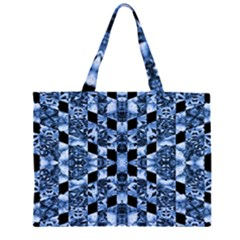 Indigo Check Ornate Print Large Tote Bag