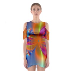Bright Cutout Shoulder Dress