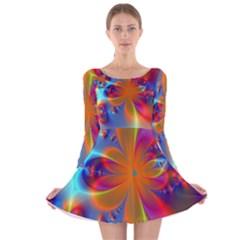 Bright Long Sleeve Velvet Skater Dress