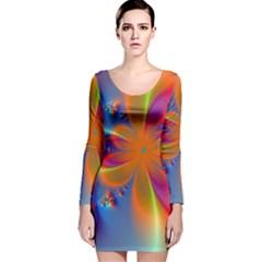 Bright Long Sleeve Velvet Bodycon Dress