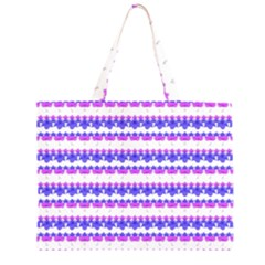 Floral Stripes Pattern Large Tote Bag