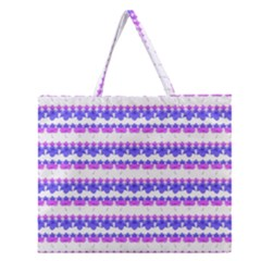 Floral Stripes Pattern Zipper Large Tote Bag