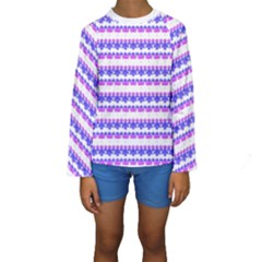 Floral Stripes Pattern Print Kid s Long Sleeve Swimwear