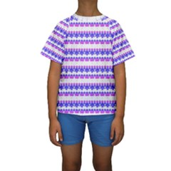 Floral Stripes Pattern Print Kid s Short Sleeve Swimwear