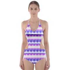 Floral Stripes Pattern Print Cut-Out One Piece Swimsuit